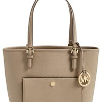 MICHAEL Michael Kors 'Medium Jet Set' Saffiano Leather Snap Pocket Tote