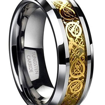 8mm Tungsten Carbide Ring Gold Celtic Dragon Wedding Band