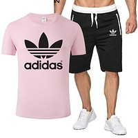 ADIDAS tide brand men and women sports fitness running set two-piece Pink