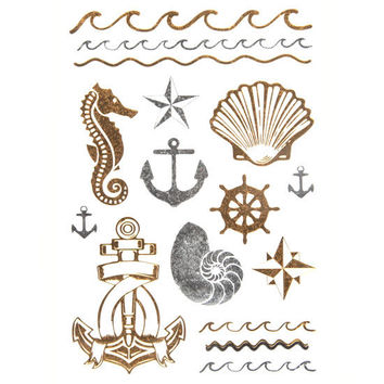 Anchor/Shell Metallic Tattoos Metal One Size For Women 25739309201