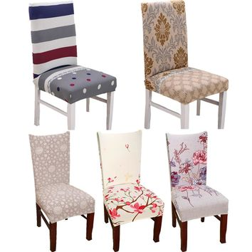 1pc Spandex Elastic Flower Printing Chair protective Slipcover Anti-dirty Stretch Dining Chair Seat Cover Case for Banquet Party
