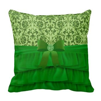 Lime Green Satin Ruffles & Bow on Damask Throw Pillow