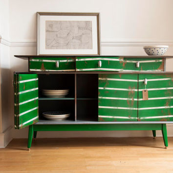 Hand painted distressed vintage 50's sideboard.  Green and white chevron stripes. Metal handles.
