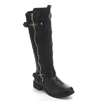 Forever Link Women's MANGO-21 Quilted Zipper Accent Riding Boots