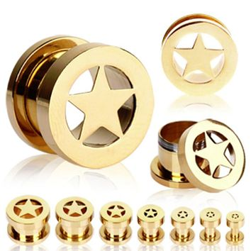 Gold Plated Double Flare Screw Fit Flesh Tunnel Ear Plug with Star