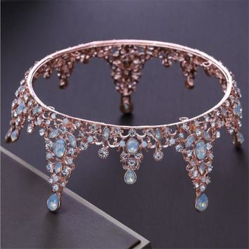 Cool Baroque Queen King Tiara Crown Bridal Wedding headdress Opal Rose Gold Color Tiaras and Crown Wedding Dress Hair AccessoriesAT_93_12