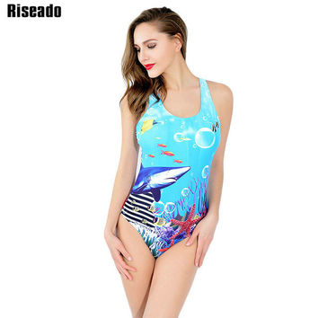 2017 New One Piece Swimsuit Sports Suits Brand Swimwear Women Sexy Printing Backless Swimming Bathing Suits-03118