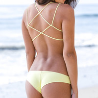 The Girl and The Water - Frankie's Bikinis - Kaia Bikini Top Yellow - $88
