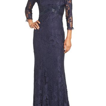 Adrianna Papell Illusion Yoke Lace Gown (Regular & Petite) | Nordstrom