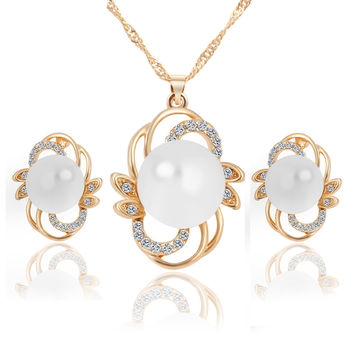 Flower Pattern Jewelry Set Necklace Earring Big Pearl Stone