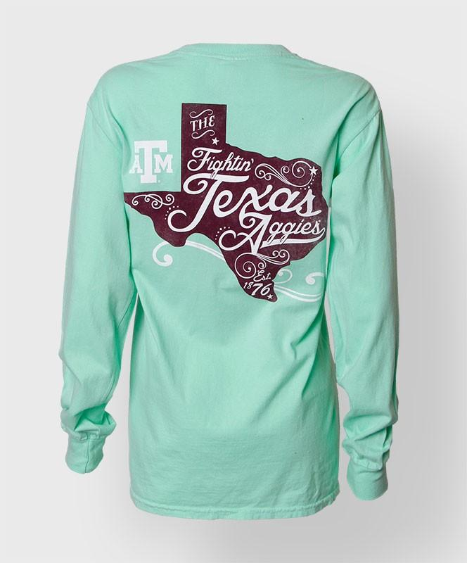 Curly state l s from things i for Texas a m golf shirt