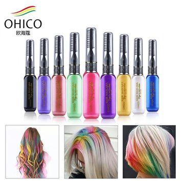 Mutlicolor Brand Hair Dye Color DIY Not Hurt Hair Easy To Clean Non-toxic One-time Temporary Mascara Hair Cream 13 Colors