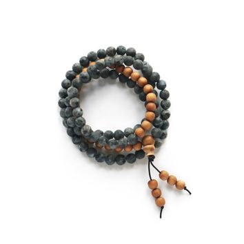 Black Labradorite and Sandalwood Gemstone Mala