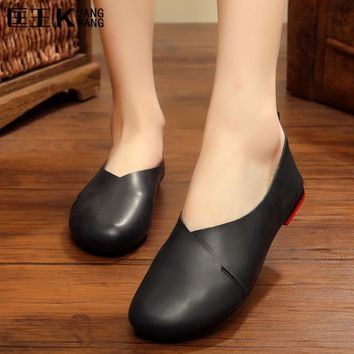 New Women Genuine Leather Shoes Woman Loafers Handmade Ladies Shoes Flat Casual Footwe