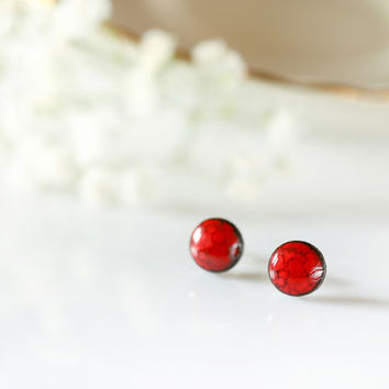 "Tiny stud earrings mini studs 8mm 0.3"" Red ceramic stud earrings, ceramic post earrings on sterling silver posts Red tiny earrings Red studs"