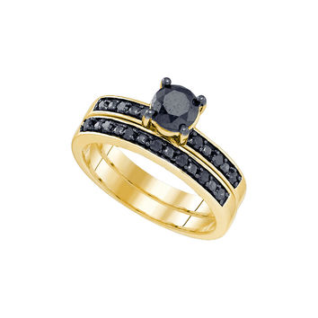 10kt Yellow Gold Womens Round Black Colored Diamond Bridal Wedding Engagement Ring Band Set 1.00 Cttw 83138