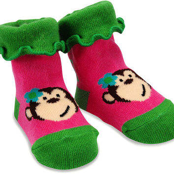 Pink and Green Monkey Baby Girl Socks