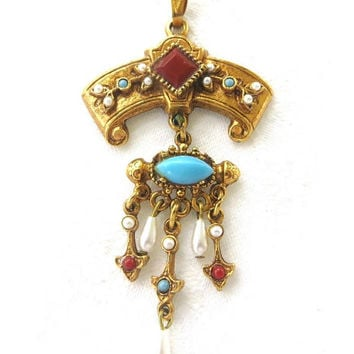 Etruscan Dangle Pendant, Designer Signed Art Jewelry, Vintage Seed Pearl Necklace Pendant
