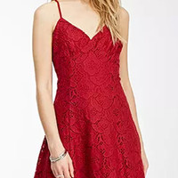 Burgundy V-neck Spaghetti Strap Back Cross Lace Mini Dress