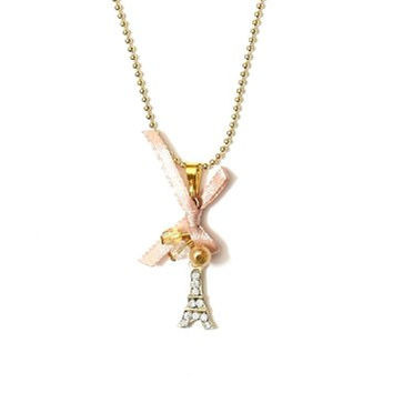 Eiffel Tower Necklace Crystal Vintage Beaded Gold Tone Paris Charm NJ45 Fashion Jewelry