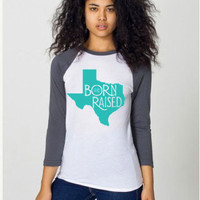 Texas Born & Raised LARGE Turquoise State Cotton Baseball T Shirt tee shirt Native Texan Women Womens