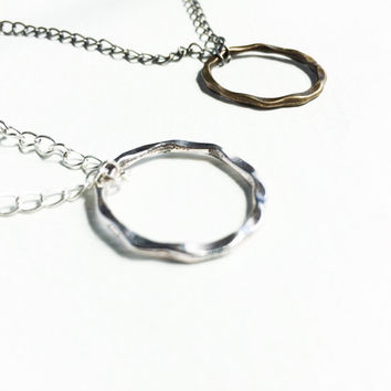 Karma Necklace, Simple Circle Necklace, Minimalist Necklace, Karma Circle Pendant, Karma Jewelry, yoga Jewelry Silver Brass