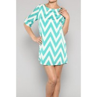 Tiffany Blue Chevron Tunic Dress