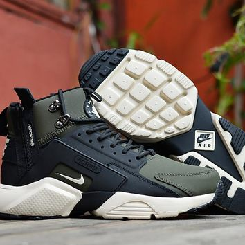 ... buying now eb94a 6d4d0 Huarache x Acronym City MID Leather BlackGreen  Sneaker Shoes ... 0edebdec3