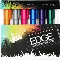 Amazon.com: Hair Chalk - Metallic Glitter Collection - Edge Chalkers - Lasts up to 3 Days Sealant Built in - 80 Applications Per Stick - No Mess - As Seen on the Voice - Works with Any Color Hair | Temporary Hair Color: Beauty