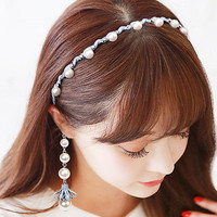 Women Classic Waves Pearl Head Chain Headpiece Hair Band Headband Headdress
