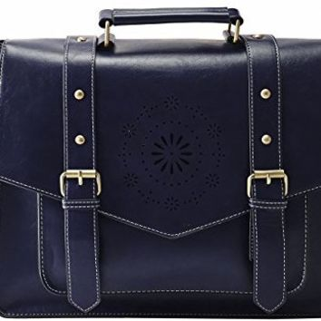 "ECOSUSI Women's PU Leather Laptop Bag Tote Messenger Bag Crossbody Briefcase Fit 14"" Laptop, Blue"