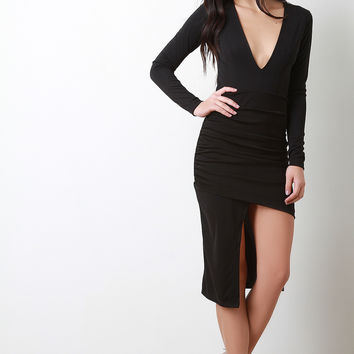 Deep V-Neck Asymmetrical Midi Dress