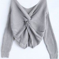 V Neck Knotted Back Chunky Jumper Sweater