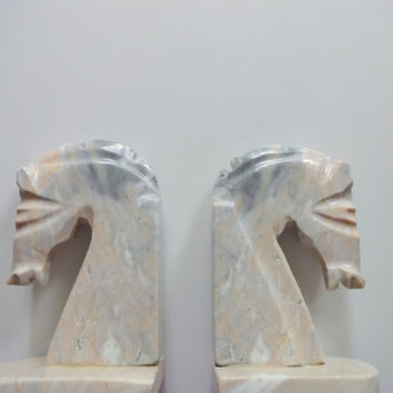Vintage Set of Marble Horse Bookends 1970s
