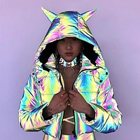 Fashionable long sleeve short hooded color light loose cotton jacket for women