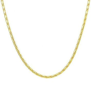 "AUGUAU MMTTAO 2MM 5MM Thick Punk Jewelry Link Curb Cuban Figaro Flat Snake Chain Necklace for Men Women 18K Gold Necklace,16""-32"""