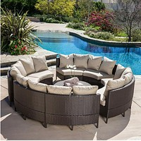 Sigma Outdoor Patio Furniture10-Piece Wicker Sofa Sectional Set