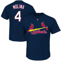 Yadier Molina St. Louis Cardinals Majestic Official Name and Number T-Shirt – Navy Blue
