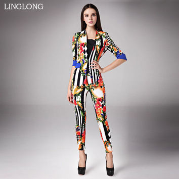 Flora pattern blazers/ new fashion clothing set/Women suits with pants