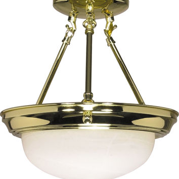 "11"" Semi Flush Mount Lighting Fixture in Polished Brass Finish"