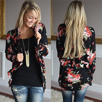 Woman Coat Autumn 2016 Rose Floral Printed Bomber Jacket Women Long Sleeve Open Stich Cardigan Women Basic Coats