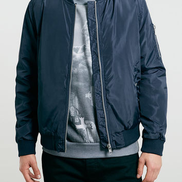 NAVY HEAVYWEIGHT BOMBER JACKET - Topman
