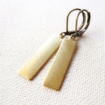 Rectangle Dangle Earrings - Geometric Dangle Earrings - Brass Earrings - Tribal Jewelry