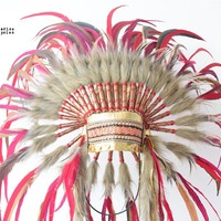 Valentine Love Red Gold Feather Headdress