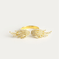 Angel Wings Ring -Ring with Pave Diamonds - Diamond Wedding Band - 925 Sterling Silver over Gold Filled
