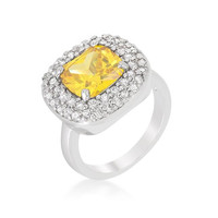 Micropave Yellow Bridal Cocktail Ring, size : 09