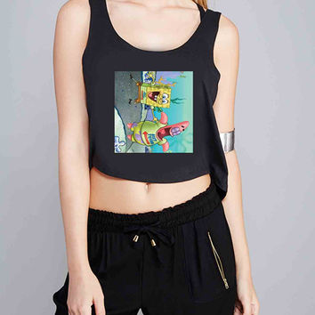 Patrick and Spongebob 09 for Crop Tank Girls S, M, L, XL, XXL *07*