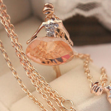Shiny Crystal Ballet Girl Pendant Necklace