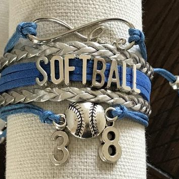 Personalized Infinity Softball Bracelet
