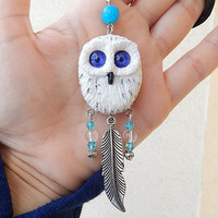 White owl pendant, White owl necklace, White owl jewelry, handmade owl of clay, animal jewelry, owl totem, hedwig owl pendant jewelry